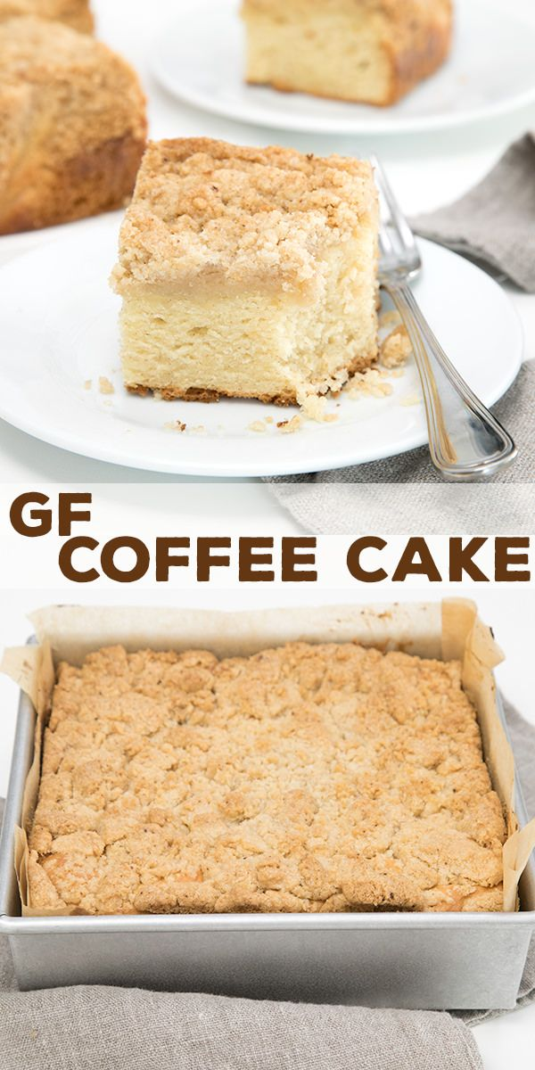 This gluten free coffee cake recipe is a lightly sweet, tender and moist golden cinnamon flecked cake topped with streusel crumb topping. So easy!