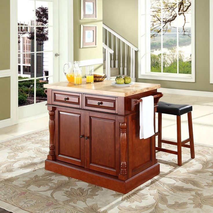 crosley butcher block top kitchen island with 24 in upholstered