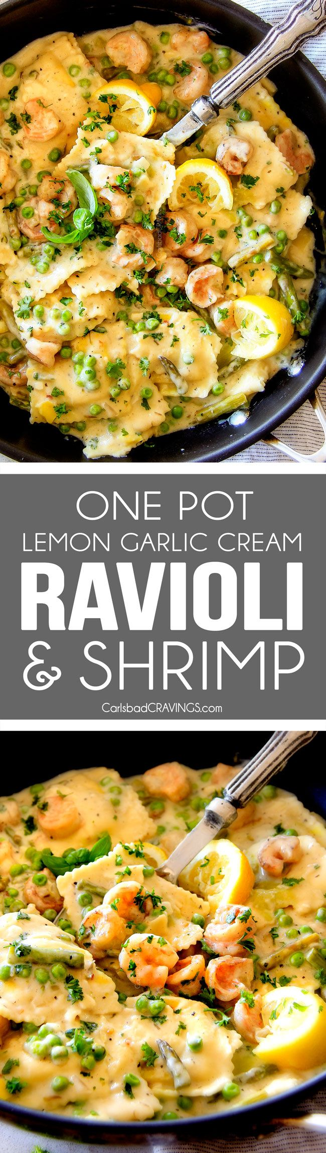 30 Minute, ONE POT (Lightened Up!) Lemon Garlic Cream Ravioli with Shrimp and Asparagus is wonderfully creamy, bursting with flavor and so quick and easy with only one pot to clean!