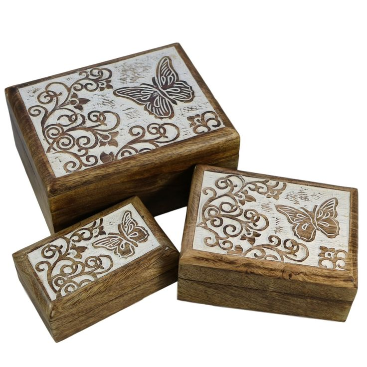 Butterfly Wood Box - Set of 3