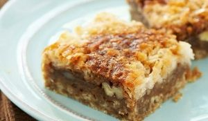 Dream Bars: coconut, pecans and brown sugar.  Yes. by taylor