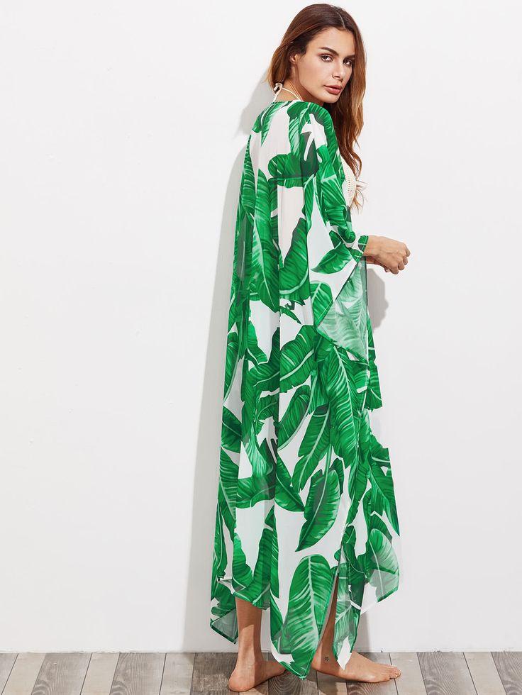 Shop Jungle Leaf Print Longline Poncho Kimono online. SheIn offers Jungle Leaf Print Longline Poncho Kimono & more to fit your fashionable needs.