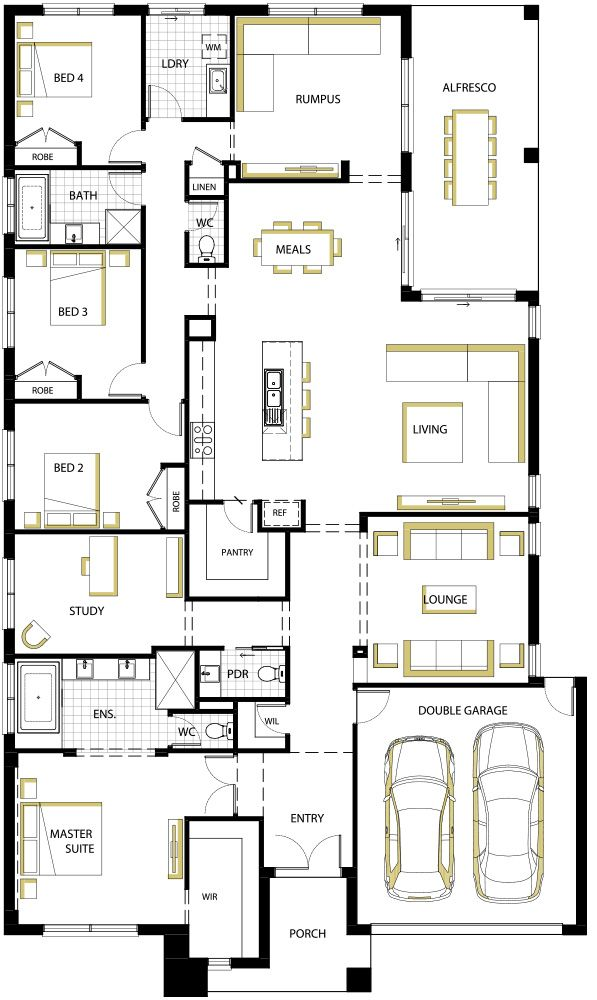 Best 25 4 bedroom house plans ideas on pinterest house for Simple house plan with 4 bedrooms