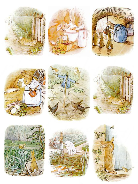 instant download of 24 Peter Rabbit images from Tale of Peter Rabbit by Beatrix Potter, digital collage sheets for paper crafts,  no. 169 on Etsy, $3.75