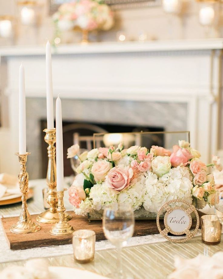 """The Knot on Instagram: """"Double-tap if you love this blush + gold centerpiece as much as we do!  Click the link in our bio for more gorgeous blush wedding ideas #theknot  via @rebeccaarthurs"""""""