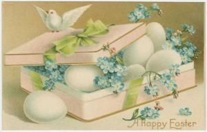 Easter/ vintage card/ eggs, blue flowers: Vintage Postcards, Easter Card, Easter Postcards, Vintage Card, Vintage Easter, Blue Flower, Greetings Card, Happy Easter, Easter Greetings