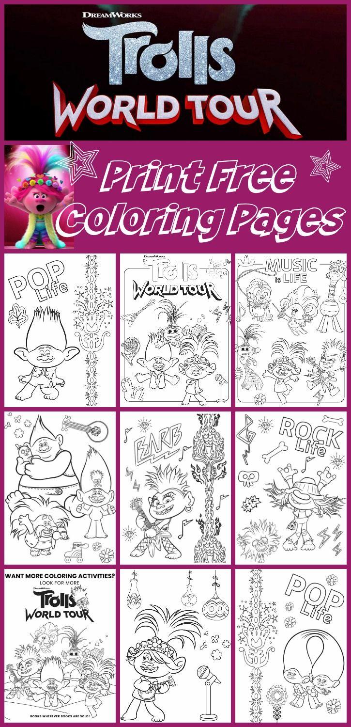 Free Printable Trolls World Tour Coloring Pages Party Ideas Any Tots In 2020 Free Printable Coloring Free Printable Coloring Pages Free Halloween Coloring Pages