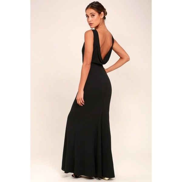 Lulus  Into the Night Black Backless Maxi Dress ($94) ❤ liked on Polyvore featuring dresses, gowns, black, holiday dresses, maxi skirts, evening maxi skirt, sleeveless cocktail dress and maxi dresses