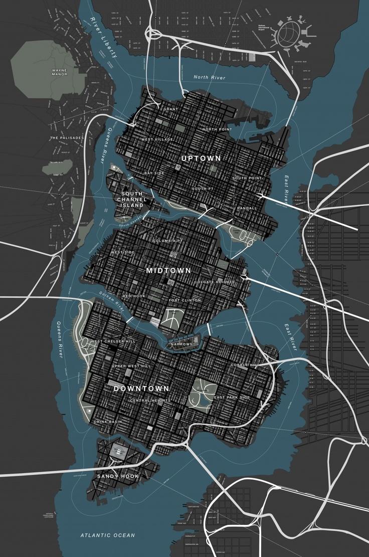 Gotham City, as seen in the Nolan films