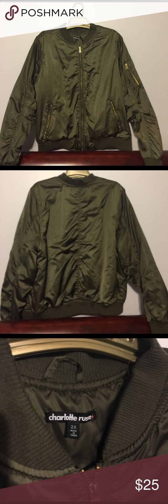 Plus Size Army Green Bomber Jacket Army green bomber jacket, gold zippers, never worn Charlotte Russe Jackets & Coats