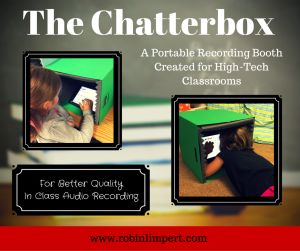 New! Portable Recording Box for high-tech student projects. Created by a classroom teacher for in class audio recording use. iPads and Chromebooks fit perfectly inside. Suggested Extention for Chromebooks- Screencastify in Google Chrome for recordings.