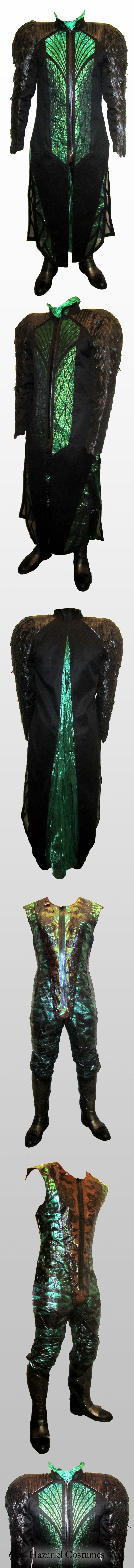 Fantasy costume  black and green handmade and unique