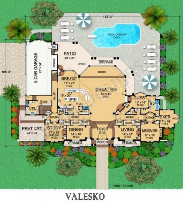 303 best dreamy house plans images on pinterest floor for Luxury home plans with pools