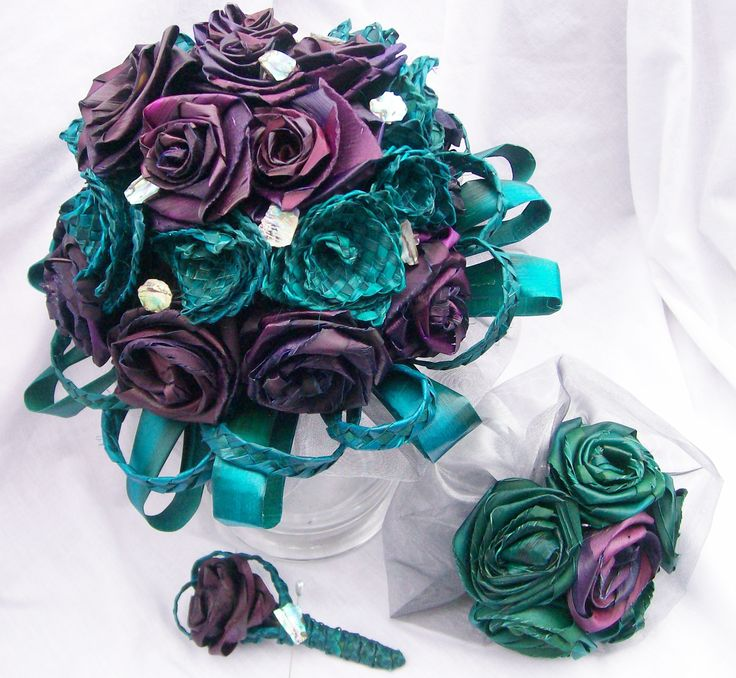 Turquoise and purple woven flax flower wedding bouquet with paua pieces