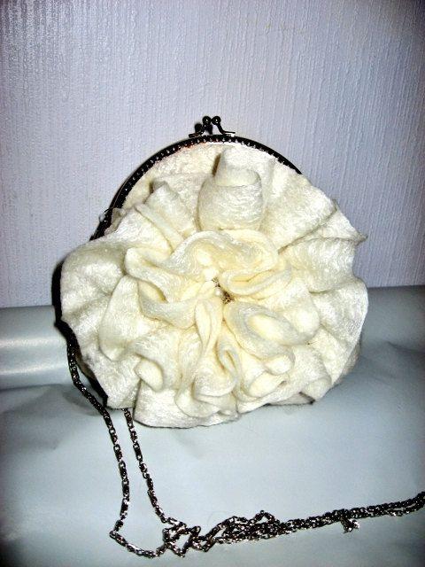 Felted Purse handbag Wedding White by SilkMagic on Etsy, $67.00