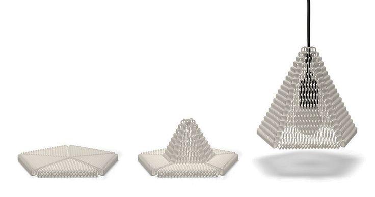 Zoom por Michiel Cornelissen, lámpara de impresión 3D entretejida en espiral Zoom es una estructura de fabricación digital creada a partir de cientos de elementos repetitivos que en conjunto forman una serie de espirales entretejidos