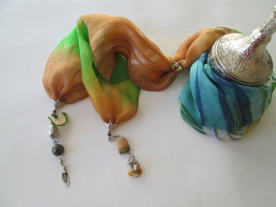 Colorfull Chiffon Scarf Necklace neck by TurquoiseJewel on Etsy