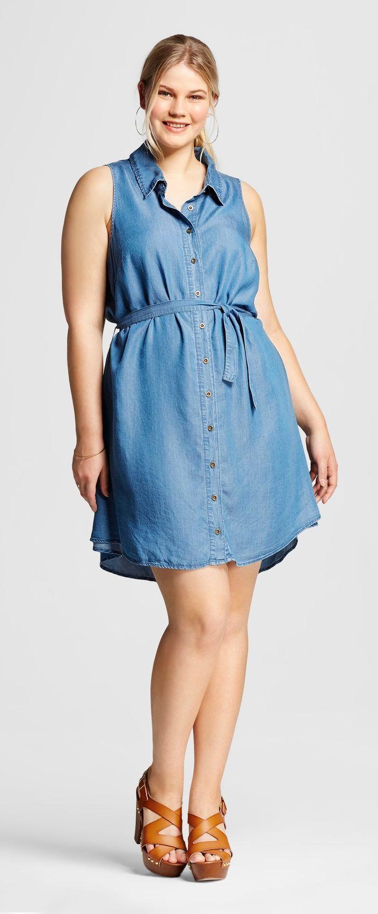 Plus Size Sleeveless Chambray Shirt Dress