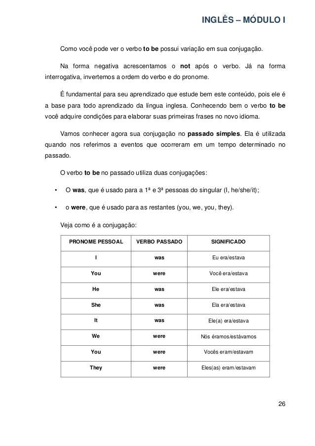 INGLÊS – MÓDULO I  26  Como você pode ver o verbo to be possui variação em sua conjugação.  Na forma negativa acrescentamos o...