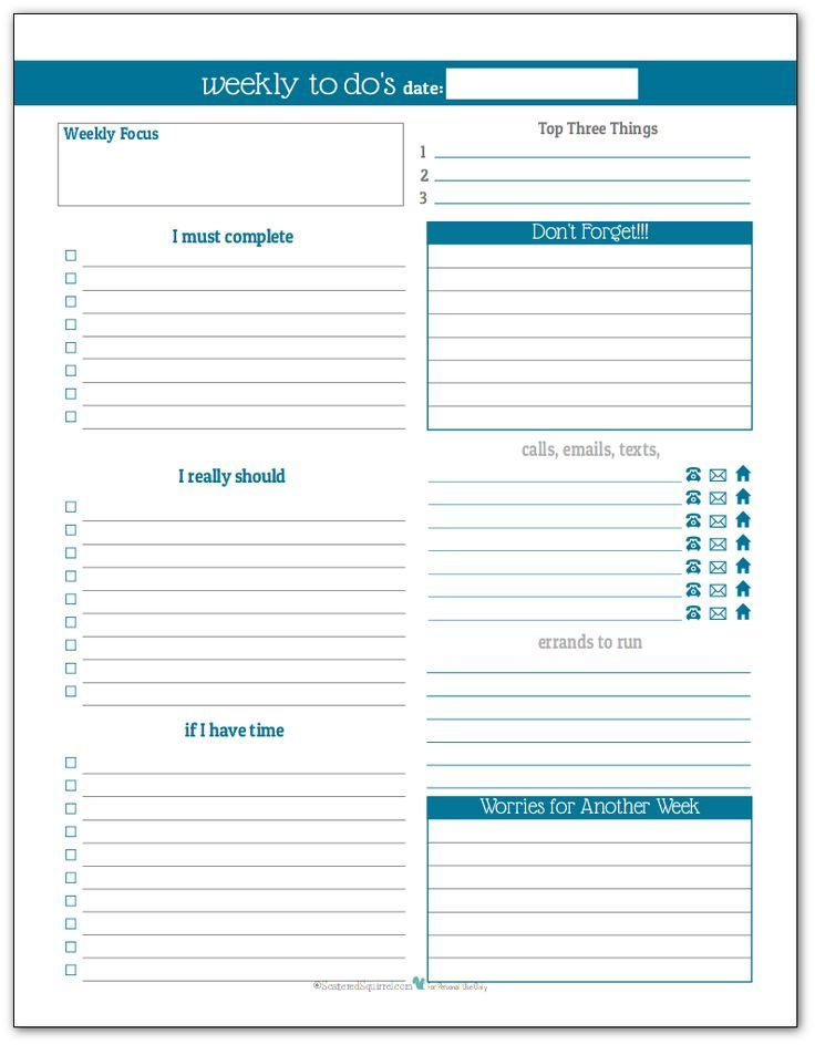 Plan Your Week With The New Weekly To Do List Planner Printables