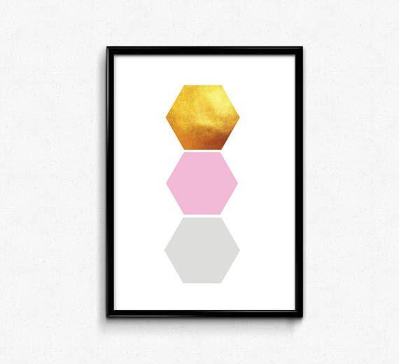 Digital Download, Scandinavian printable, Geometric Art, Printable Wall Art, Modern Wall Art, Minimalist, Pink Triangles, Gold printable