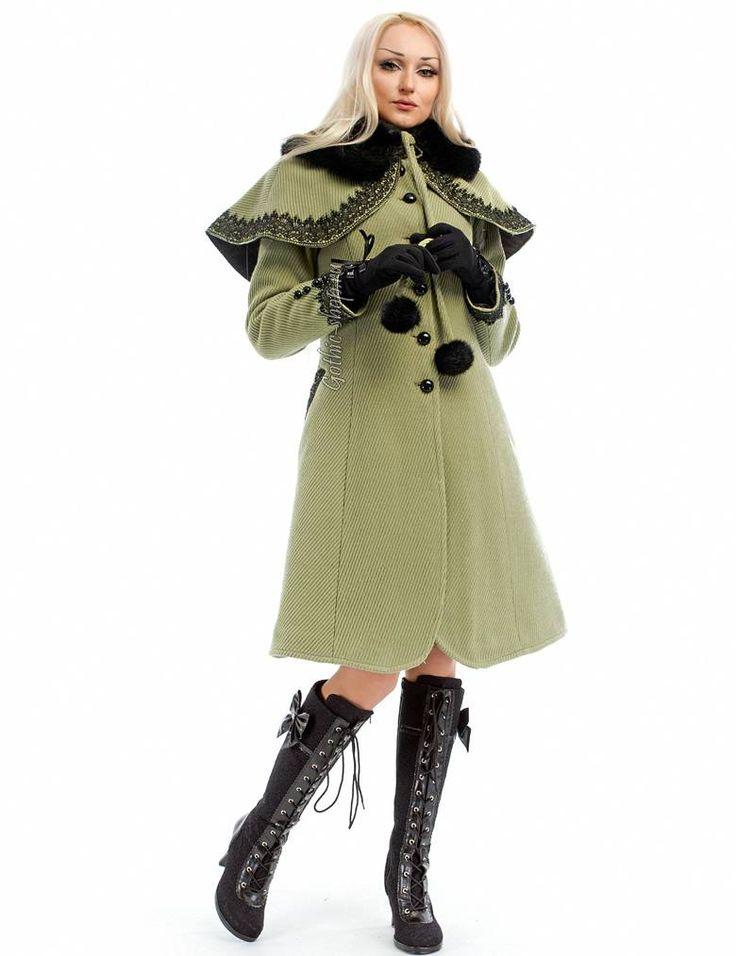 Зимнее пальто с пелериной | Готическая одежда, магазин неформальной одежды, стимпанк одежда, одежда для готов, готический магазин, рок магазин