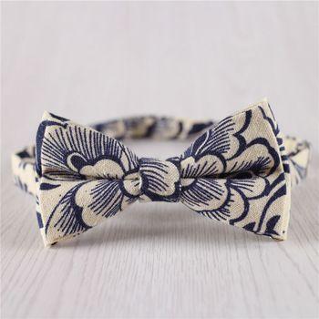 Azul estilo chino vintage pre atado correa ajustable de la pajarita de algodón para hombre baile ball banquete de boda hechos a mano pajaritas + b7