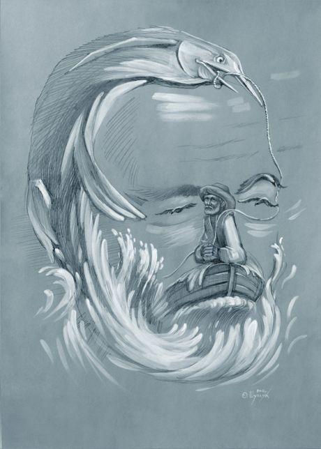 Ukrainian artist. Shuplyak Oleg - The Oldman and big fish / Шупляк Олег - Старий і велика рибина