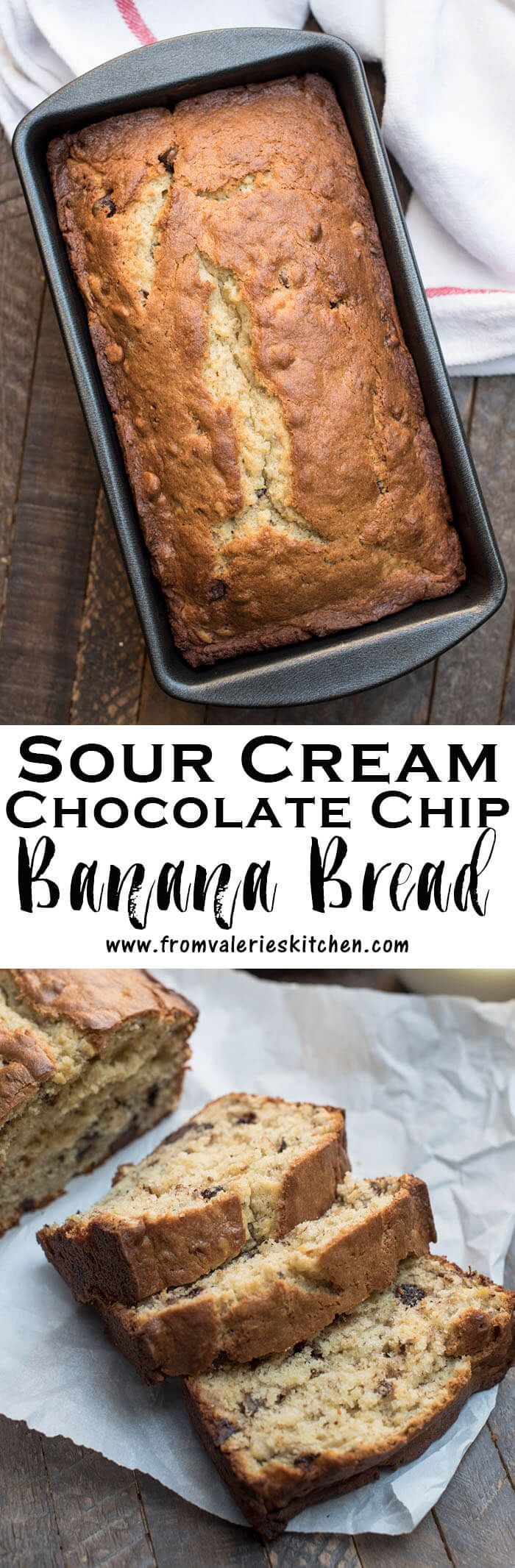 Sour cream adds great texture and flavor to this beautiful, golden brown loaf of Sour Cream Chocolate Chip Banana Bread. Delicious!