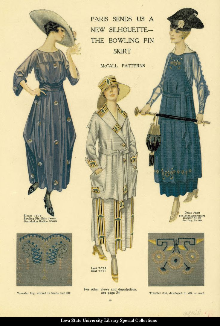 """A fashion print from a 1917 McCall's magazine, featuring the  newest thing from Paris, the """"bowling pin"""" skirt."""