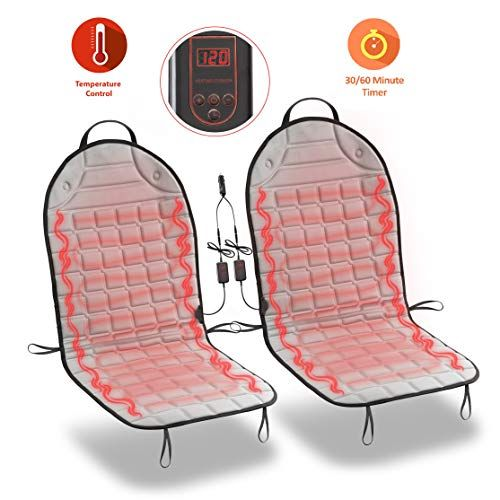 Zone Tech Car Heated Seat Cover Cushion Hot Warmer 2 Piece Set 12v Heating Warmer Pad Hot Gray Cover Perfect For Cold Weather And Winter Driving S Izobrazheniyami