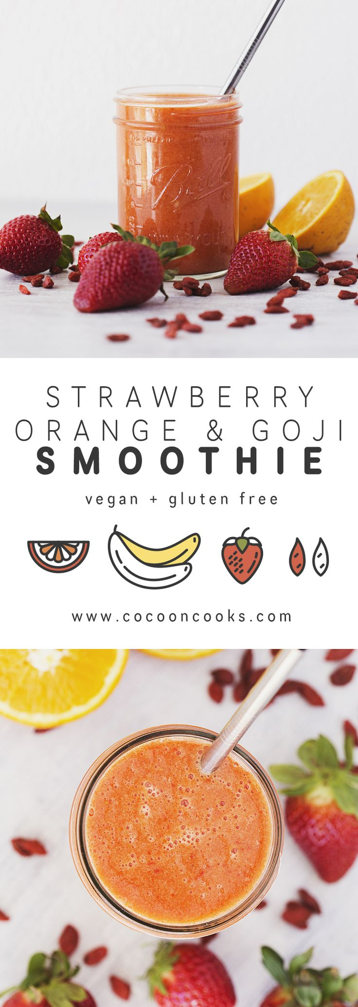 A deliciously sweet Strawberry, Orange & Goji Smoothie. #vegan #recipe #healthy