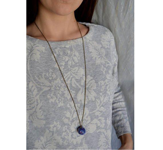 Minimalist pendant Blue marble Handmade polymer clay jewelry