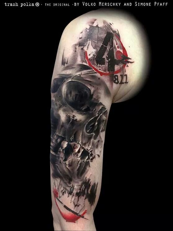 very nice skull trash polka tattoo ideen pinterest totenk pfe tattoo ideen und sch delkunst. Black Bedroom Furniture Sets. Home Design Ideas