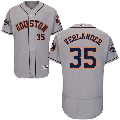 Astros #35 Justin Verlander Grey Flexbase Authentic Collection 2017 World  Series Champions Stitched MLB Jersey