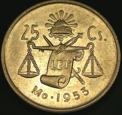1953 Mexico SILVER 25 Centavos Cap & Rays Silver Coin!yo tenia una no se dond diablos quedo!