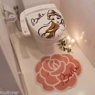 Disney Princess Beauty and the Beast Belle toilet cover & toilet mat JAPAN