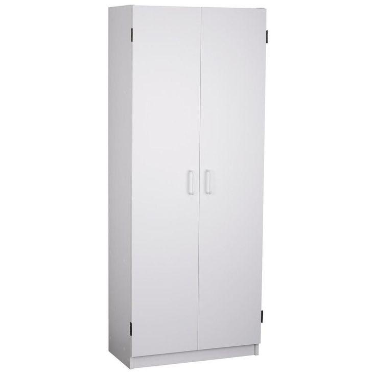 White 24-inch Kitchen Food Storage Pantry Double-Door Cabinet Cupboard Organizer #Altra #Contemporary #Kitchen #Storage #Cabinet #Organizer