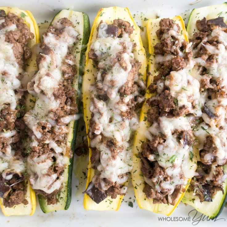 These yellow summer squash and zucchini boats are stuffedwith gooey Swiss cheese, smoky ground beef, and richshiitake mushrooms. They make an easy low carb and gluten-free dinner.