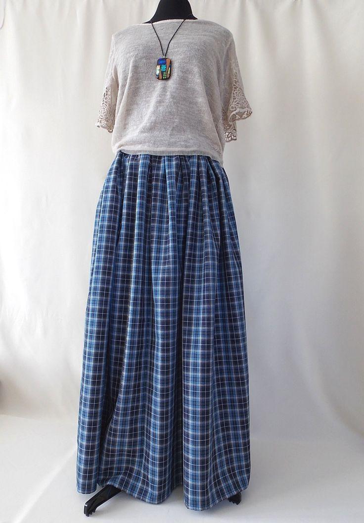 Maxi skirt. Pleated Skirt. Boho skirt. Skirt in blue plaid. Юбка в пол. by BohoEklektika on Etsy