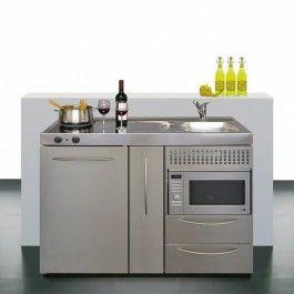 Intra Stål minikjøkken med mikrobølgeovn, 120cm m/koketopp til venstre - VVS Komplett
