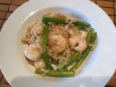 Les plats cuisinés de Esther B: Risotto aux crevettes et asperges