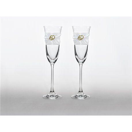 2 stk. Champagneglass med bånd og gullhjerter