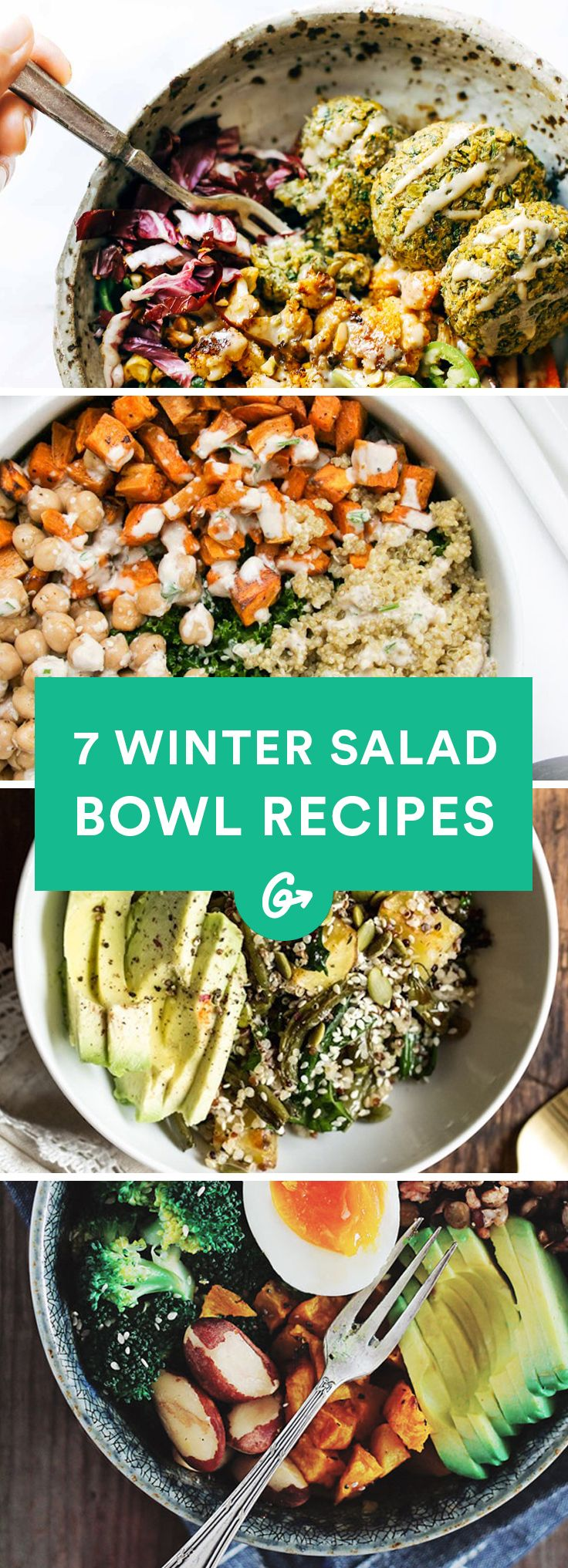 7 Salad Bowl Recipes That\'ll Make You Want to Eat Your Veggies #winter #salad #bowls http://greatist.com/eat/winter-salad-recipes