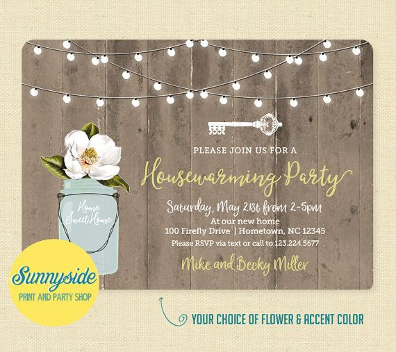 Our rustic mason jar printable housewarming party invitation can be personalized with your choice of flower and accent color! (Magnolia and Celery