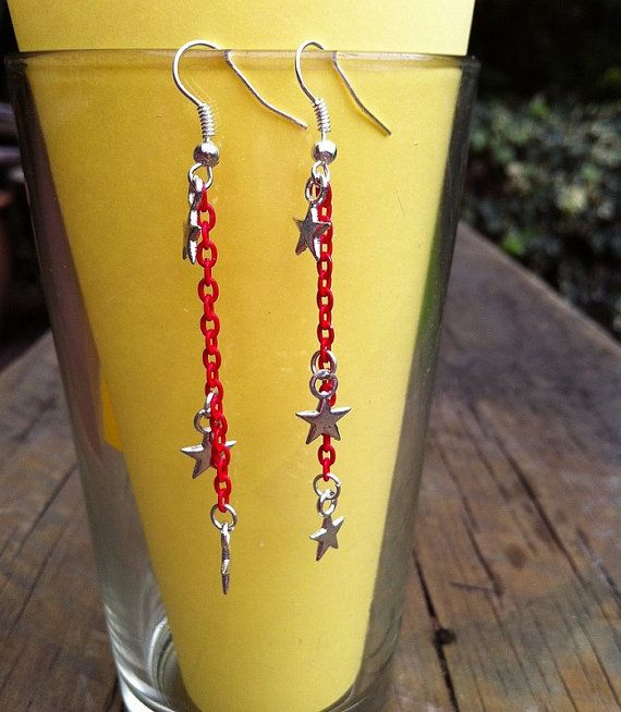 Red chain with silver star dangle earrings by CindysAccessories, $5.00