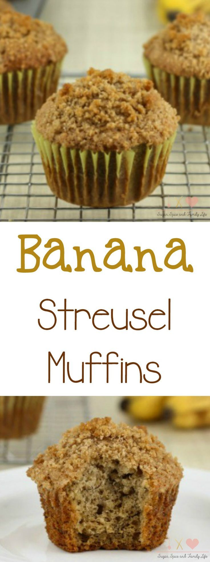 Banana Streusel Muffins are a delicious way to use up ripe bananas. These banana muffins with streusel topping will have everyone coming back for more at breakfast time or as a snack.  - Banana Streusel Muffins Recipe on Sugar, Spice and Family Life #bananamuffins #bananas #muffins #streusel #bread #recipe