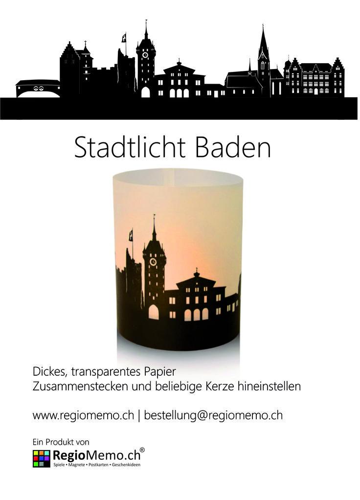 Stadtlicht Baden  Dickes, transparentes Papier Zusammenstecken und beliebige Kerze hineinstellen Durchmesser 9 cm / Höhe 10 cm