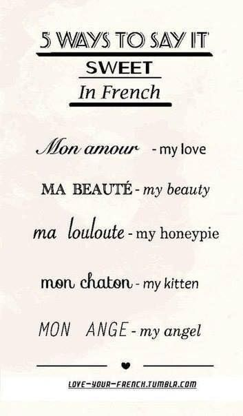 5 maneras de decir mi amor en Frances