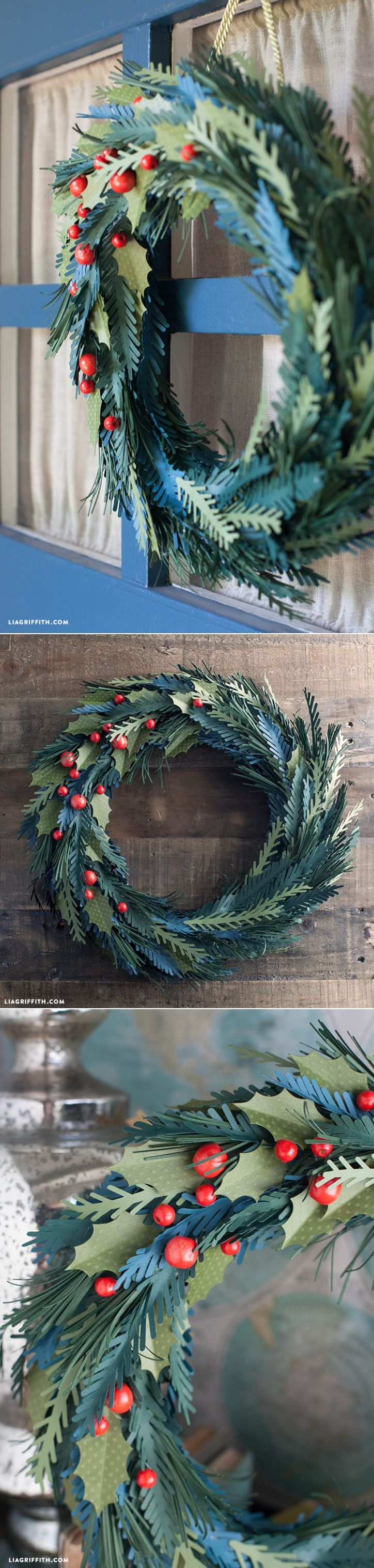 #Paperwreath #DIYwreath #paperflower #DIYdecorating www.LiaGriffith.com: